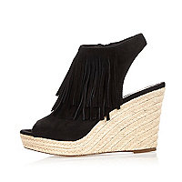 Black fringed slingback wedges