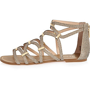 Gold caged sandals
