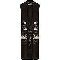 Black crochet maxi cape