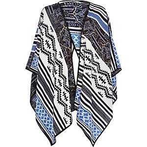 Blue print poncho