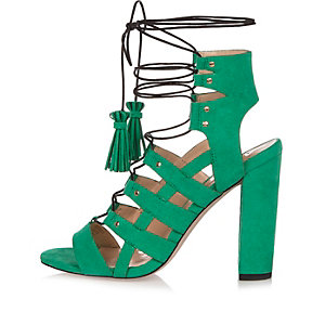 Green caged heels
