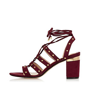 Dark red tiered caged heel sandals