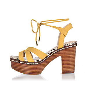Yellow platform heels