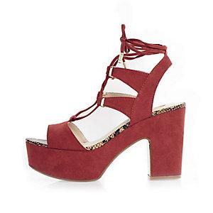 Dark red platform sandals