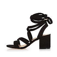 Black soft tie heel sandals