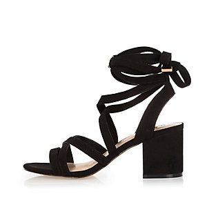 Black soft tie heel sandals