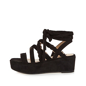 Black braided platform sandals