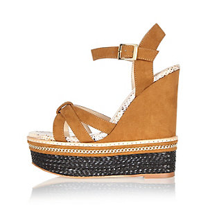 Tan faux suede wedges