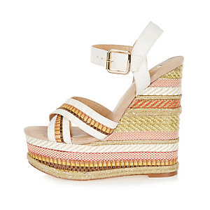 White print espadrille wedges