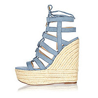 Light blue suede lace up wedges