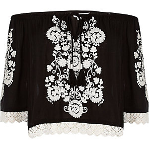 Black embroidered bardot top