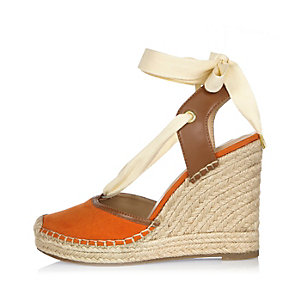 Orange lace-up espadrille wedges