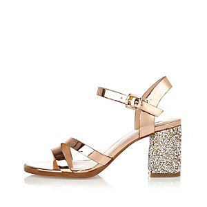 Rose gold glitter block heel sandals