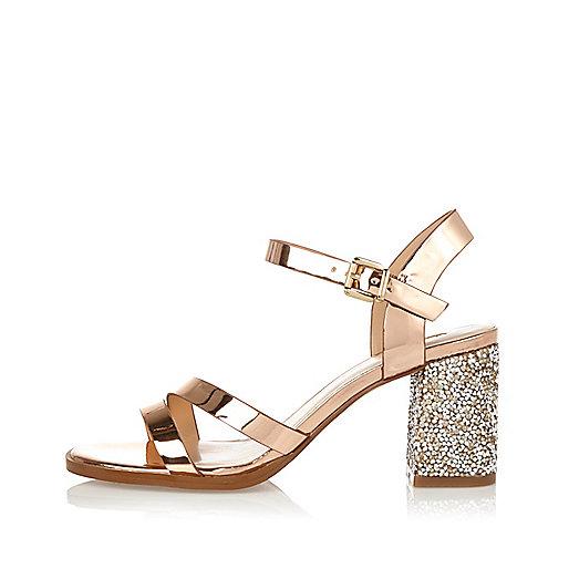Rose gold glitter block heel sandals