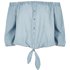 Light blue denim bardot top