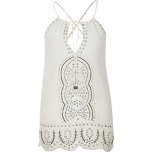 White embellished cami