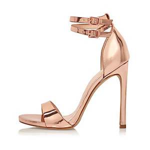 Rose gold tone double strap heels
