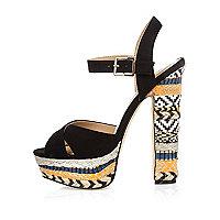 Blacks print suede platform heels