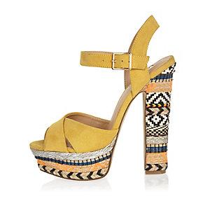 Yellow print suede platform heels