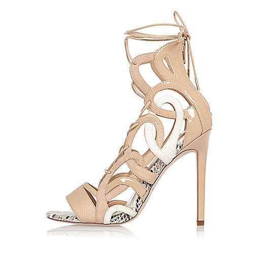 Nude lace-up caged heels