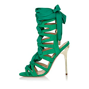 Green chiffon tie heel sandals