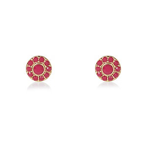 Gold tone pink embellished stud earrings