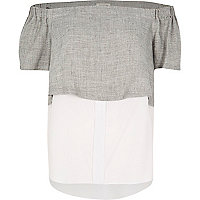 Grey double layer bardot top