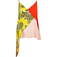 Yellow print asymmetric cami