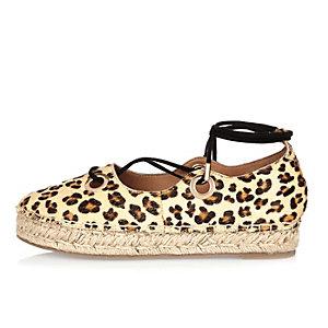 Beige leopard print leather espadrilles