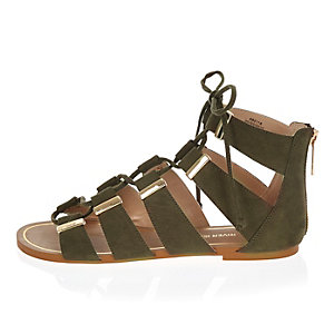 Khaki lace-up sandals