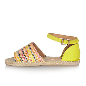 Yellow Aztec peep toe espadrilles