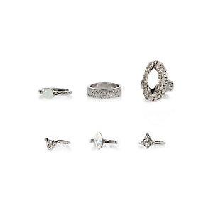 Silver tone opal rings pack