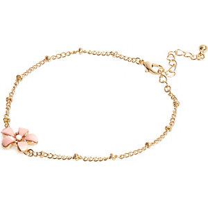 Pink gold tone floral anklet