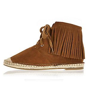 Brown fringe espadrille boots