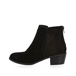 Black perforated suede ankle boots