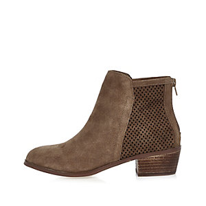 Beige perforated suede ankle boots