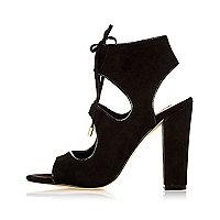 Black caged heel sandals