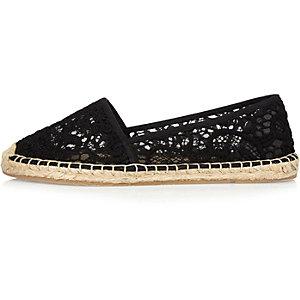 Black lace espadrille shoes