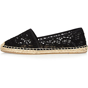 Black lace espadrille shoes