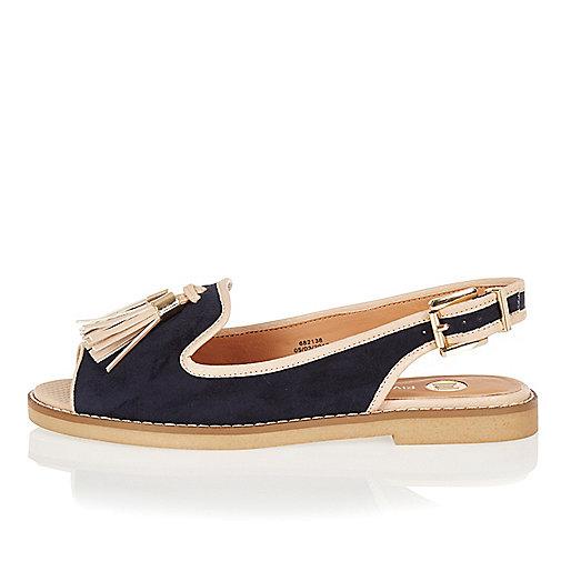 Sandales bleu marine peep toe à bride arrière