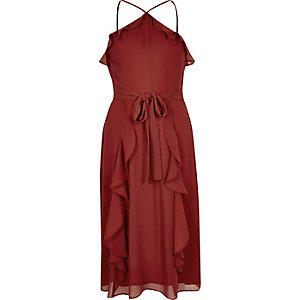 Rust brown ruffly dress