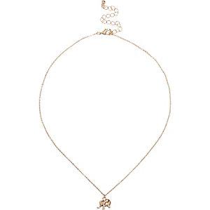 Gold tone elephant pendant necklace