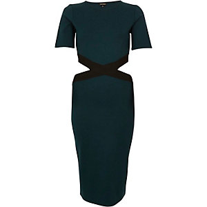 Green cut-out side bodycon dress