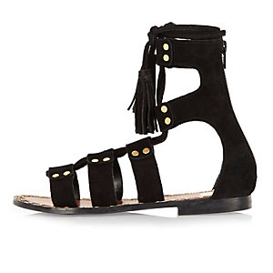 Black studded suede gladiator sandals