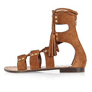 Brown suede studded lace-up sandals