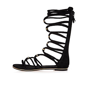 Black tie-up sandals