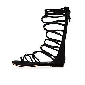 Black tie-up sandals