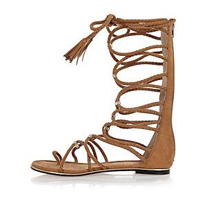 Light brown tie-up sandals