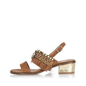 Light brown fringe block heel sandals
