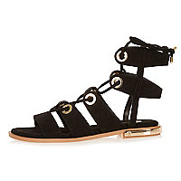 Black lace-up eyelet trim sandals